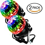 LED Stage Party Lighting, LOVIN PRODUCT 7 Color Changing Sound Active 3W RGB Auto Rotating Mini Crystal LED Dream Magic Ball for Disco DJ, Show, Xmas KTV, Wedding, Club Pub, Theater. (2 PACK)