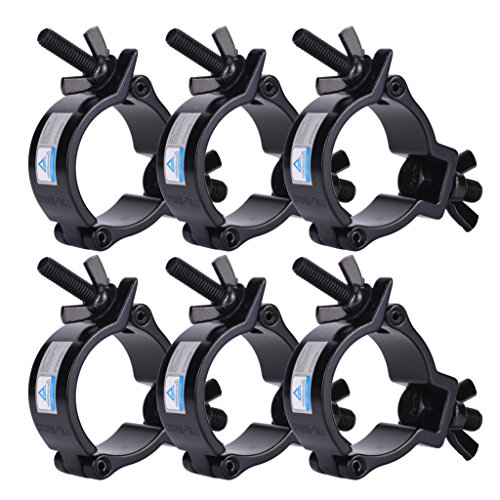 Stage Lighting Clamps - 6 Pack Heavy Duty Aluminum Stage Lighting Mount (Black) 2 Inch Clamp for Moving Head Light/Par Light/Spotlight, Fits 48-51mm OD Tubing/Pipe, Max Load 220lbs