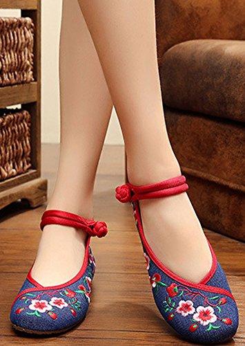 Avacostume Broderie Womens Classiques Appartements En Caoutchouc Semelle Casual Chaussures Bleu Foncé