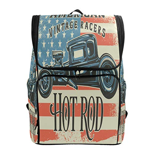 - ALAZA American Vintage Racers Hot Rod Large Capacity School Backpack Bookbag for Collage Students Women Man Travel Hiking Camping Daypack 19x14x7 Inches