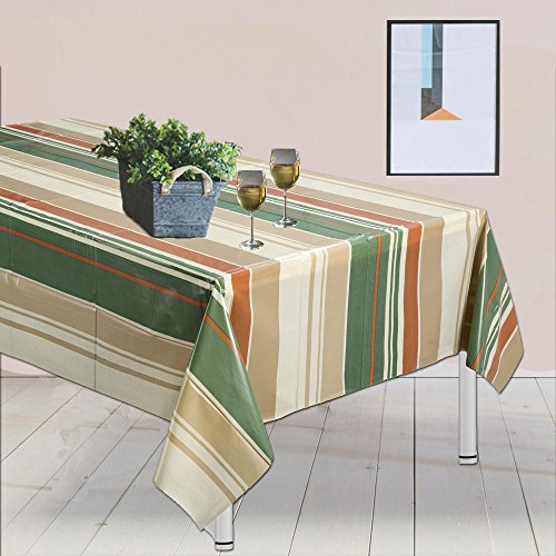 "Plastish plastic table-cloth, disposable party table-cover, beautiful Striped design, (4-Pk) size 54"" X 84"" for all occasions picnics, camping, birthday, indoor & outdoor use"