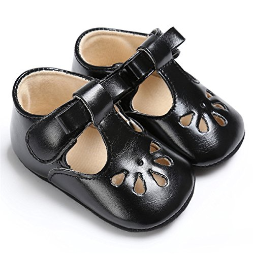 Baby Girls Black Shoe - BENHERO Baby Girls Soft Sole Bowknot Mary Jane Princess Shoes (Infant) (0-6 Monthes/4.33inch, 1560 Black)