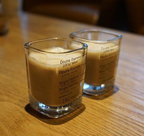 BCnmviku Espresso Shot Glasses Measuring Cup Liquid Heavy Glass for Baristas 2oz for Single Shot of Ristrettos (2 pack) by BCnmviku (Image #5)