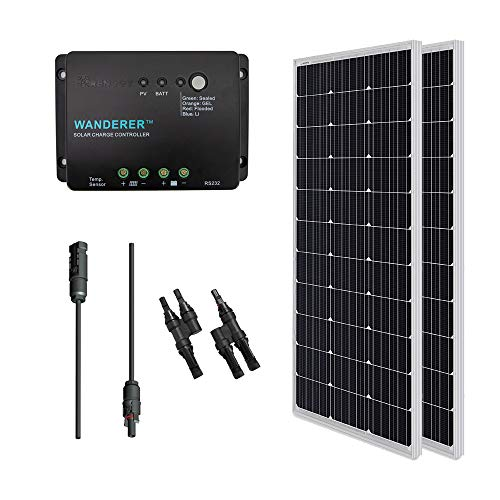 Renogy 200 Watts 12 Volts Monocrystalline Solar Bundle Kit w/ 100w Solar Panel,30A Charge Controller,9in MC4 Adaptor Kit,A pair of Branch Connectors (Best Solar Panel Kit For Rv)