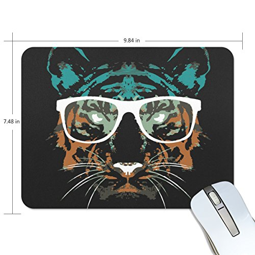 Personalized Mouse Pad Large Rectangle Gaming Mouse Pad Style Rubber Mousepad with Tiger Wearing Glasses in 9.84