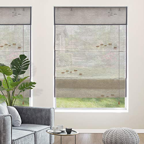 Yoolax Natural Roman Shades,100% Linen Woven Wood Window Blinds Handmade Fabric Light Filtering Shades for Home Restaurant Office Customized(Soft Wind)