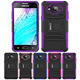 Galaxy J5 Stand Case, HLCT Rugged Shock Proof Dual-Layer PC and Soft Silicone Case With Built-In Stand Kickstand (Purple)