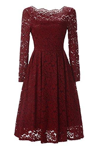 LanierWedding, Prom Dresses On Sale, Swing Dress 1950s, Vintage Stripe, Swing Dress For Girls, Burgundy - Sale 1950s For Fashion