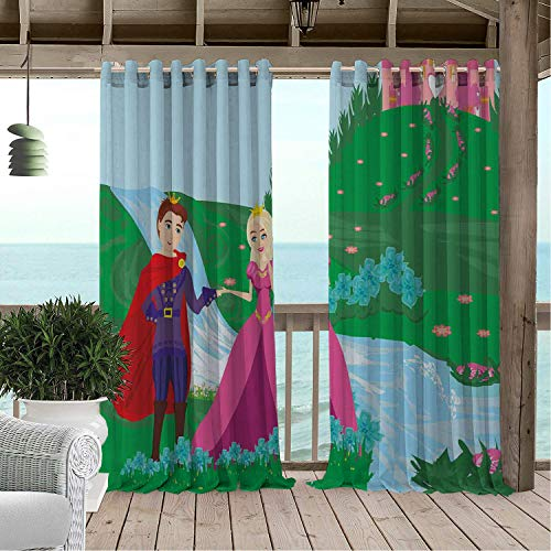Linhomedecor Gazebo Waterproof Curtains Prince Nursery Cartoon Composition Castle on The Hill River Floral Spring Meadow Multicolor Porch Grommets Adjustable Curtain 120 by 72 inch