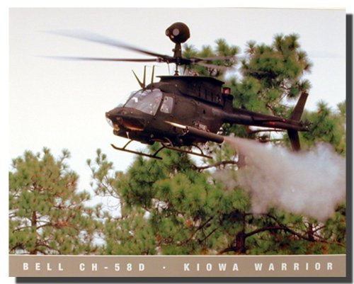 Aviation Wall Decor Military Bell CH 58D Kiowa Warrior Helicopter Art Print Poster -