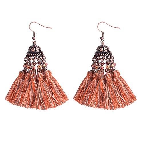 (D EXCEED Ethnic Statement Thread Tassel Earrings Bohemian Beaded Glass Cluster Tassel Dangle Drop Earrings for Women Coral Series)
