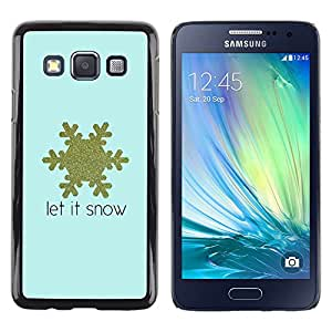 LECELL--Funda protectora / Cubierta / Piel For Samsung Galaxy A3 SM-A300 -- Snowflake Blue Gold Text Winter --