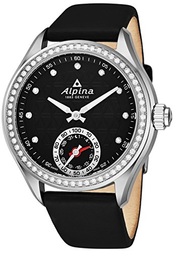 Alpina Horological Smartwatch Womens Fitness Watch - 39mm Black Face Swiss Made Diamond Watch - Black Satin Leather Band Water Resistant Running Watch with Sleep Monitor and Activity Tracker For Women