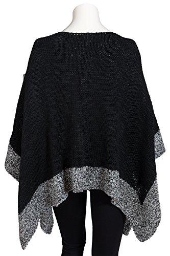 Italienische Mode - Poncho - capa - para mujer negro y gris