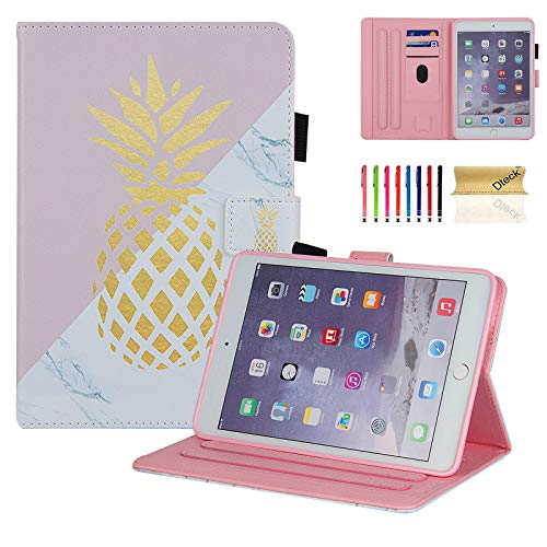 Dteck iPad Mini 1/2/3/4 Case - Slim Fit Premium PU Leather [Multi-Angle View] Folio Stand Wallet Cover with Auto Wake/Sleep Smart for Apple iPad Mini 1/Mini 2/Mini 3/Mini 4, Marble Gold Pinapple