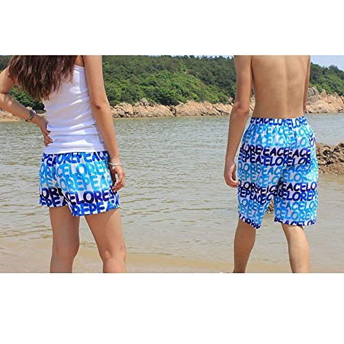 Lora Dew(TM) Pantalones cortos de los amantes pantalones de la playa de secado rápido pantalones sueltos cartas Azul