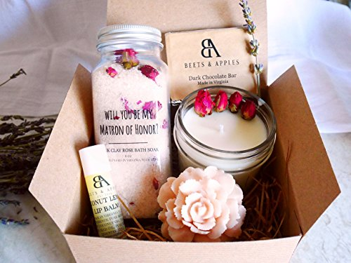 SHIP NEXT DAY - Matron of Honor Gift Set, Matron of Honor Proposal Gifts, Will you be my Matron of Honor Gift - Rose Spa Matron of Honor Proposal Gift by Beets & Apples by BeetsandApples