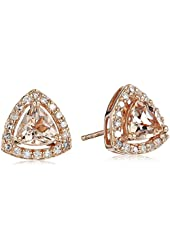 10k Rose Gold Morganite and Diamond Trillion Stud Earrings (1/4cttw, H-I Color, I1-I2 Clarity)