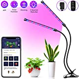 MINGER Grow Light, LED Plant Light for Indoor Plants with APP, 6 Dimmable Modes, 20W Red/Blue Full Spectrum LED UV Grow Lamp with Timer, Dual Head Adjustable Gooseneck Auto On/Off Growing Light