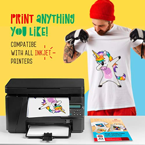 T Shirt Transfer Paper For Inkjet Printers DIY For Light Color Fabrics 20 Sheets