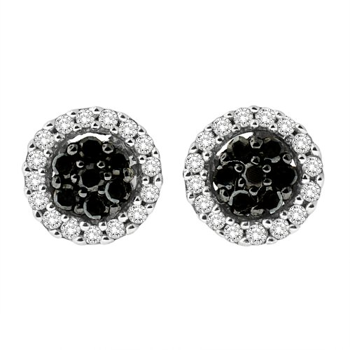 Sterling Silver White and Black Diamond Halo Stud Earrings