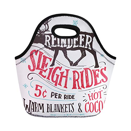 (Semtomn Neoprene Lunch Tote Bag Old Fashioned Reindeer Sleigh Rides Signboard Hand Lettering Sign Reusable Cooler Bags Insulated Thermal Picnic Handbag for Travel,School,Outdoors,Work)