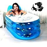 Opar New Foldable Durable Adult SPA Inflatable Bath Tub with Electric Air Pump - Blue