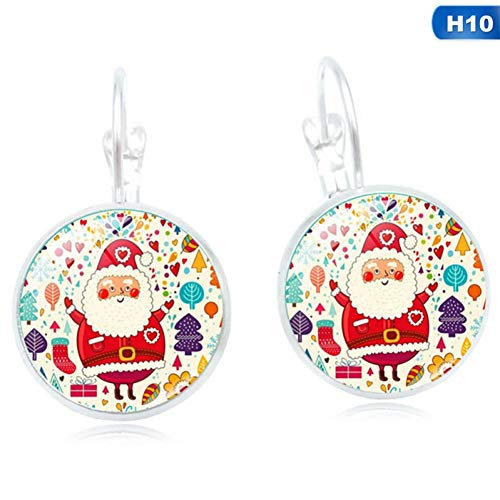 IUTING Christmas Jewelry with Silver Plated Santa Claus Pattern Glass Cabochon Earring Party Gift