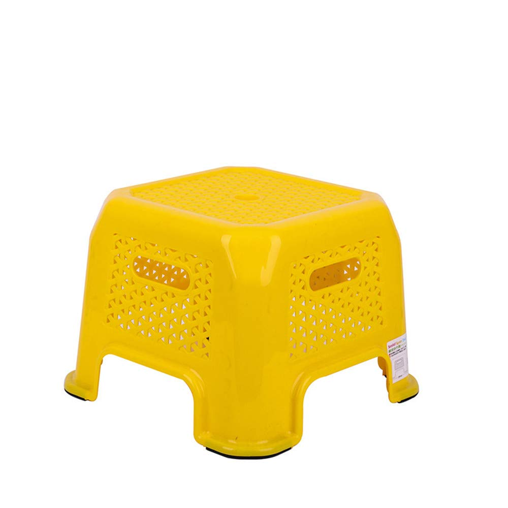 Amyannie Small Stool Plastic Bench Home Children's Stool Thick Cartoon Non-Slip Foot Rubber Foot Pedal Baby Stool (Color : Yellow)