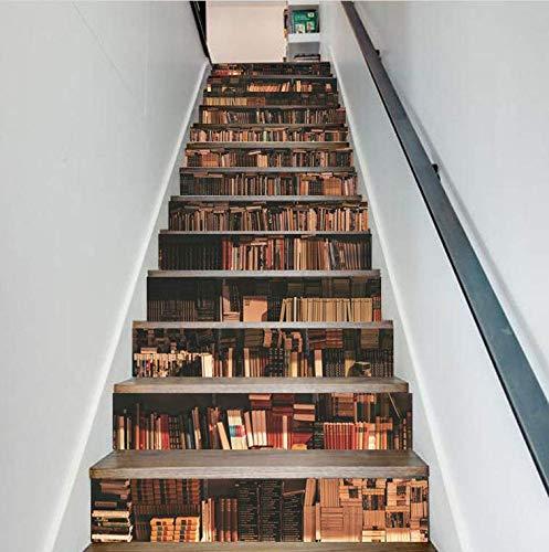FLFK 13Pcs 3D Bookcase Stair Riser Sticker Simulation Bookshelf Wall Mural  Wallpaper Removable Decals for Home Decor