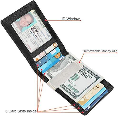 Money Clip Wallet  Mens Slim Front Pocket Leather Wallet RFID Blocking Minimalist Mini Wallet Style