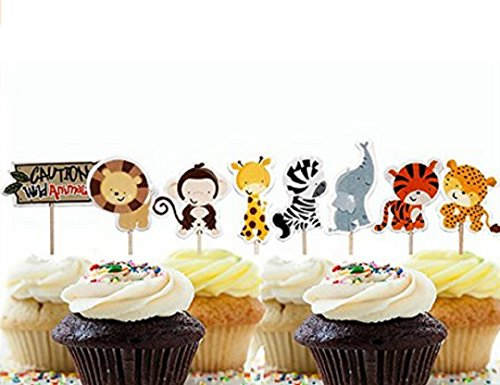 (Wendingstan 24 Pcs Cute Decorative Cupcake Muffin Toppers Wild Animals Zoo Zebra Lion Tiger Elephant Giraffe Baby Shower Birthday Party Favors)