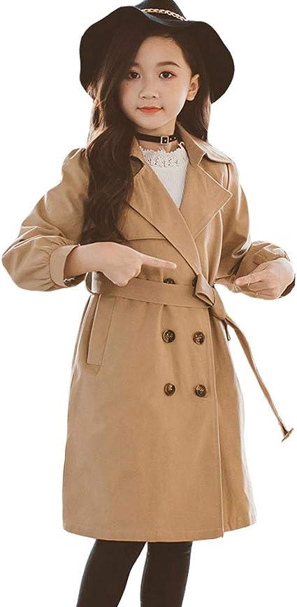 SXSHUN Manteau Fille Enfant Trench Casual Jacket Coat Manches Longues Veste /à Capuche Blouson Demi Saison Coupe-Vent