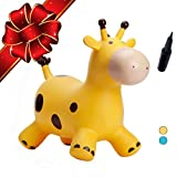Babe Fairy Jumping Horse|Yellow Deer Inflatable Bouncer with Pump- Animals Ride-On Bouncing Toy for Kids- Best Gift for Christmas Birthday (Yellow Deer)