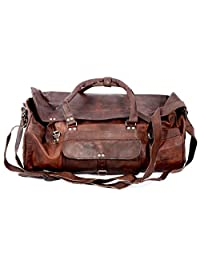 "Large Leather 24"" Duffel Travel Gym Overnight Weekend Leather Bag Sports Cabin"