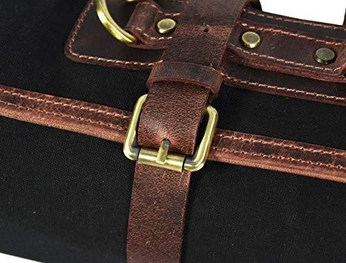 Leather Knife Roll Storage Bag | Elastic and Expandable 10 Pockets | Adjustable/Detachable Shoulder Strap | Travel-Friendly Chef Knife Case Roll By Aaron Leather (Raven, Canvas) by AARON LEATHER GOODS VENDIMIA ESTILO (Image #8)
