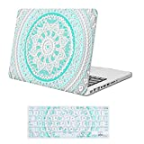 iCasso MacBook Pro 13 inch Case Rubber Coated Hard Shell Plastic Cover for MacBook Pro 13 Inch with CD-ROM Drive (Previous Generation) Model A1278 with Keyboard Cover-Blue&White Medallion