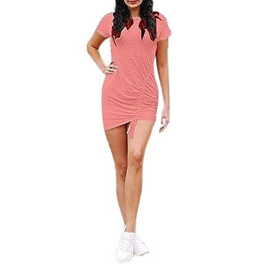 TOPKEAL Mini Vestido Delgado de Manga Corta Atractiva del Color ...