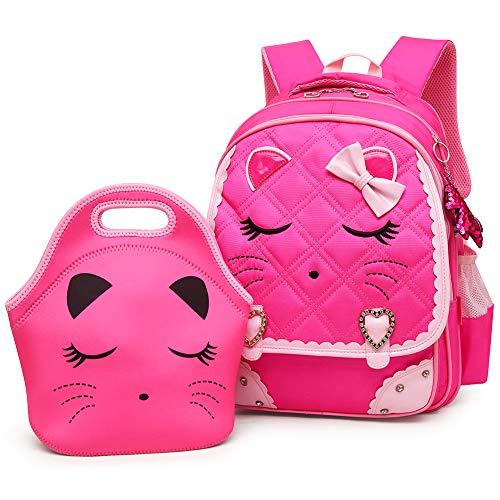 Efree Cute Cat Face Bow Diamond Bling Waterproof Pink School Backpack Girls Book Bag (Medium, Rose -