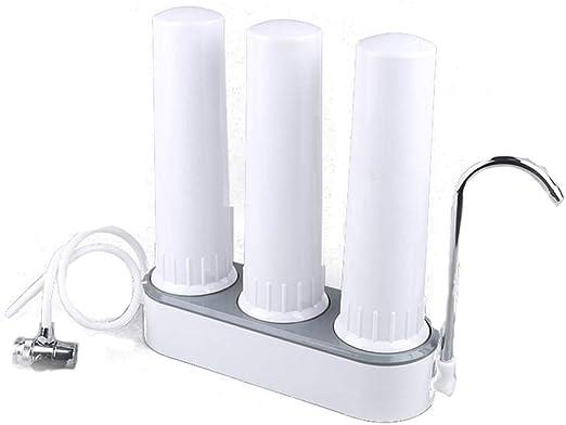 LiHong Filtro de Grifo Filtro cerámico núcleo Cocina de Tres Niveles tapiador Filtro de Agua doméstico purificador de Agua de Escritorio: Amazon.es: Hogar