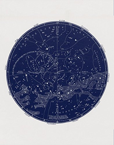 Constellation Map Celestial Chart Print in Circular format - South Celestial Pole