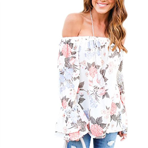 Women Blouse, TOPUNDER Fashion Off Shoulder Floral Printed Casual Tops T Shirt (L, (Misses Dress Top Shirt)