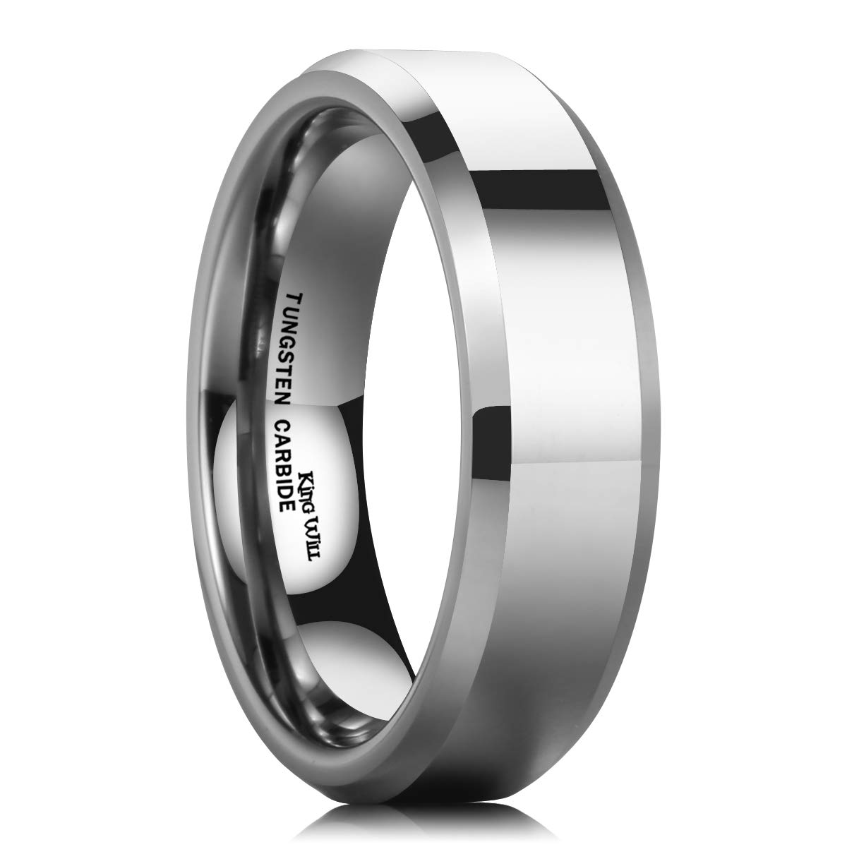 King Will Basic Mens 6mm Tungsten Carbide Ring High Polished Finish Comfort Fit Classic Wedding Band Beveld Edge (9.5)