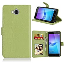 Huawei Y5 2017 / Y6 2017 Case, SATURCASE Luxury Smooth PU Leather Flip Magnet Wallet Stand Card Slots Protective Case Cover for Huawei Y5 2017 / Y6 2017 (Green)