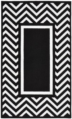 Garland Rug Chevron Frame Area Rug, 5 by 7-Feet, Black/White