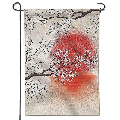 (Jiahonghome Garden Flag Cherry Blossom Sakura Branches Japanese Sun and Reflection Shadow Design s Cream Pearl Beige Brown Home Sweet Home Double Sided Decorative Flags for Outdoors 26