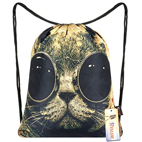 iColor Sackpack Drawstring Backpacks Stylish Multipurpose Girls Nylon Drawstring Bags Gym Bags ,Teen Dance Bag, Lightweight Gym Bag for Women Cycling Hiking,Team Training Gymsack (Cat w/ Glasses)