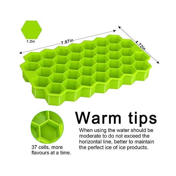 Vassoi per cubetti di ghiaccio Confezione da 2 stampi per cubetti di ghiaccio in silicone per alimenti con coperchio… 2 spesavip
