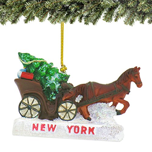 3 Inch New York City Central Park Christmas Ornament with Horse Drawn Carriage and Christmas Tree - Horse Carriage Central Park