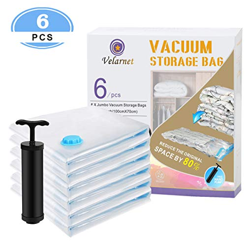Velarnet Premium Vacuum Storage Bags 6 Pack (6 x Jumbo) Space Saver Storage Bags for Travel. Durable and Reusable, Travel Hand Pump Included